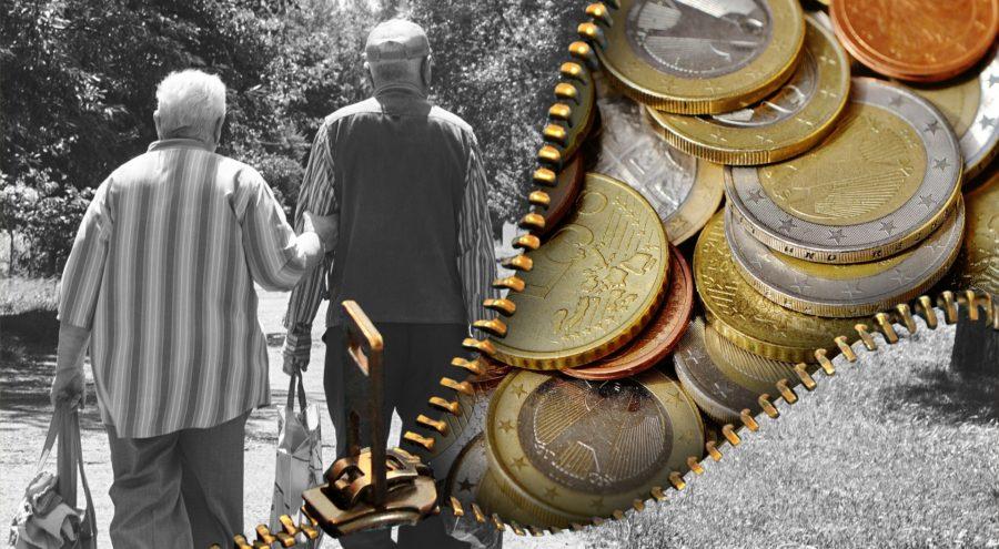 Zwei alte Mensch, Hand in Hand im linken Bildteil. Rechts, mit einem Reißverschluss abgeteilt, Euromünzen.