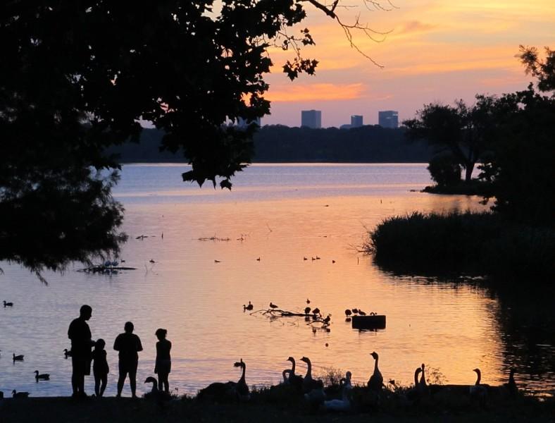 Famlilie mit zwei Kindern im Schatteriss an der Havel in Berlin bei Sonnenuntergang, Schwäne und Enten, Bäume und Schilf