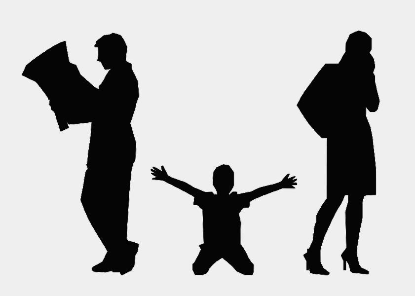 Schattenriss. Knieendes Kind, das beide Hände nach den abgewandt stehenden, zerstrittenen Eltern ausstreckt.